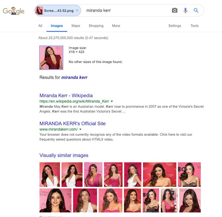 google image search voor nep profielen