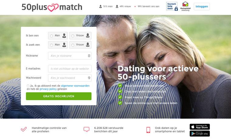 50 Plus Match login scherm
