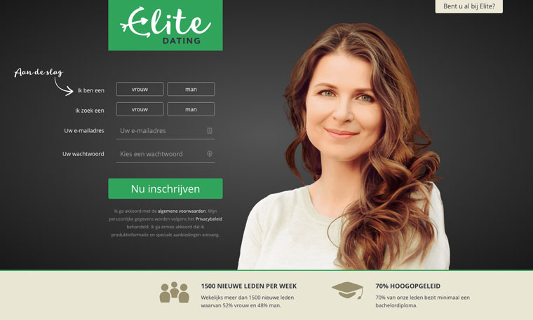 elite dating login schermm